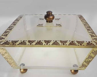 Very Large Clear Acrylic Lucite Box With Lid Art Deco