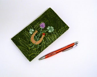 Hand Embroidered Duplicate Checkbook Cover with Pen Holder  Batik Fabric Checks Holder with Lucky Horseshoe Four-Leaf Clover Ladybug
