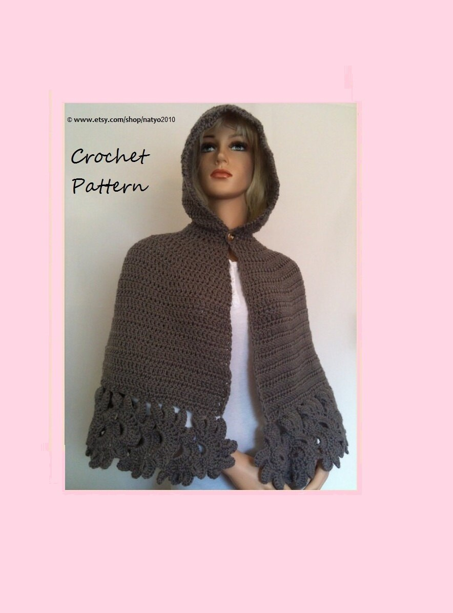 INSTANT DOWNLOAD Crochet Hooded Cape Pattern PDF - Unic Size from ...