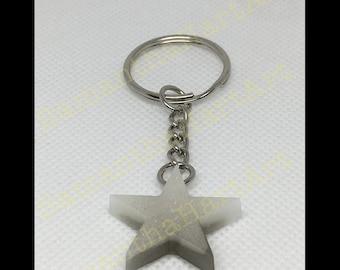 Star keychain- grey and white