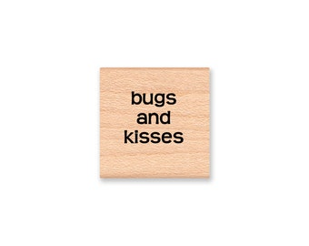 BUGS AND KISSES - Wood Mounted Rubber Stamp (mcrs 09-32)