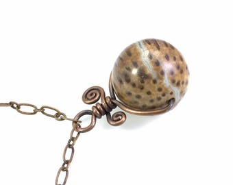 Petrified Wood Sphere Necklace: Fossilized Palm Gemstone Pendant, Natural & Healing, Rustic Hammered Copper Swirl, Handmade, Simple Design