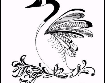PRINT - INK DRAWING - Canada Goose. wings, feathers, lake, display, bird, wildlife, dance, art, Canadian
