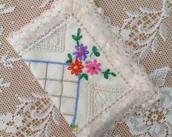 Needle book made from Vintage Hand Embroidered Cotton