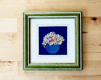 Small framed embroidery art - hand embroidery - flower bouquet - framed textile art - stitch art - needlework - handmade