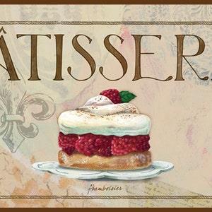 Patisserie IV French wall decor, French kitchen decor, French pastry art,Raspberry Tart,Paris fleur de lis