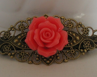Vintage Inspired Antique Bronze Tones Pink Rose Flower Barette Clip Prom
