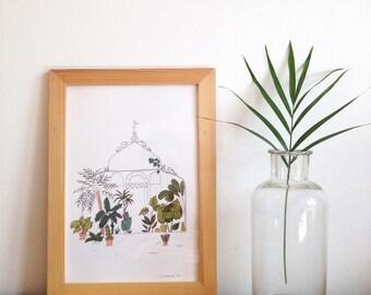 Greenhouse print, tropical garden house print, art print, botanical illustration, palm, plants, succulents, cactus garden wall art print