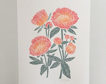 Original art print lino print grey and pink peonies flowers A3 poster hand printed hand carved botanical art