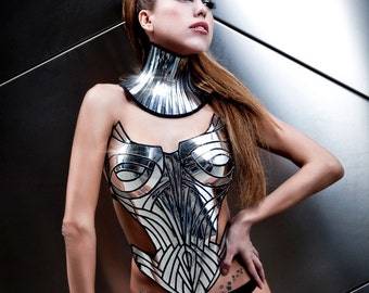 chrome neck corset armour posture necklace gothic choker in chrome slave collar victorian edwardian bdsm fetish steampunk cyber goth