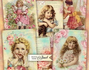 Garden Cards - digital collage sheet - set of 6 cards - Printable Download