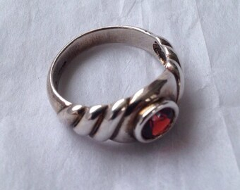 Sterling ring with garnet