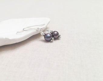 Deep Charcoal Purple Freshwater Pearl and Bali Silver Drop Earrings - 925 Sterling Silver and Bali Flower Beads with Clear Crystal Accents