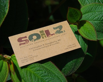 "250 Business Cards or tags 3.5""X2"" - printed on 20 PT THICK Kraft board/paper - single Sided - environmentally friendly"