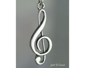 Sterling Silver G Clef Treble Clef Charm Musician Sheet Music .925