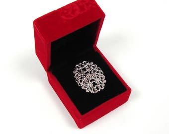 Red velvet with floral pattern ring box