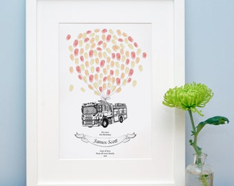 Fire Engine Fingerprint Keepsake
