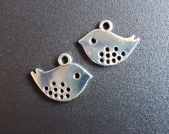 """Fat Little Bird Charms - 1/2"""" Tall x 5/8"""" Wide (13mm x 16mm) with Holes"""