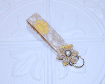 Fabric Key Chain - Floral Key Fob Wristlet - Gift for Teen Girl - Fabric Key Chain - Key Lanyard - Key Fob With Flower