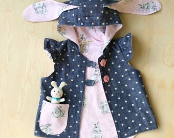 Polka dot denim vest -size 1