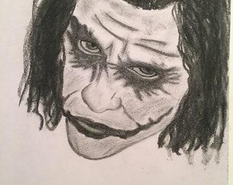 Heath Ledger's Joker charcoal drawing
