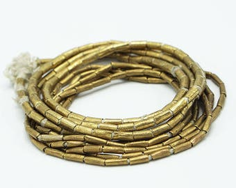 100 Handmade Ethiopian Tube Beads (3x7mm) - Recycled Brass Hand-forged African Beads - Upcycled - Tribal Trade Beads (88-ETH-MET)