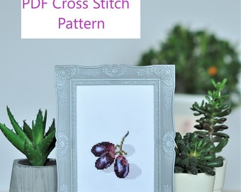 Grapes Cross Stitch Pattern for Instant Download