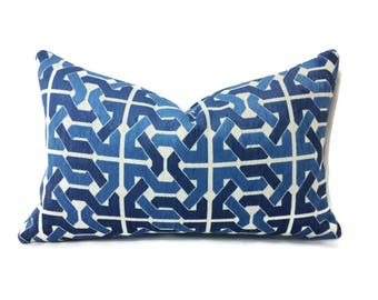 "12"" x 20"" Groundworks Cliffoney in Blue and White Lumbar Pillow Cover"