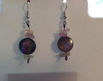 Metalic bead dangle earrings