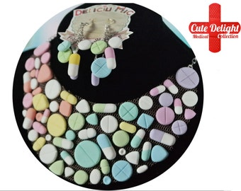 Pastel Rainbow Pills Set - Necklace + 5 pills earrings,pills necklace,custom pills neckalce,polymer clay pills,fimo pills,statement necklace