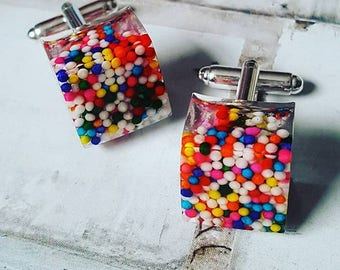 Rainbow Sprinkles Cufflinks
