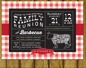 Family Reunion Invitation -Barbecue Party - BBQ - Outdoor Party Invitation - Digital - Print option - Party Invite - Under the Stars