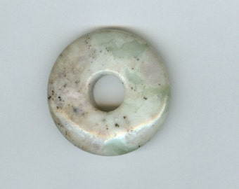35 mm grün und grau Frieden Jaspis Edelstein PI Donut Focal-Anhänger Perle 949