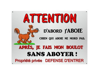 plate humortistique 29x20cm aluminum metal dog beware of ref about 04