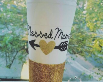 Blessed Mama coffee Tumbler, blessed mama gold glitter, blessed mama decal