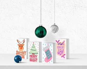 Christmas Cards, Holiday Cards, Modern Christmas, Festive Cards, Illustrated Christmas Cards, Xmas Cards, Multipack Cards