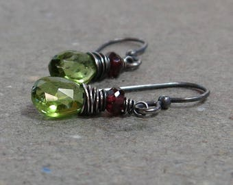 Peridot Earrings August Birthstone Pink Tourmaline Oxidized Sterling Silver Wire Wrapped
