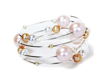 Clearance sale White blush ivory cream and champagne pearl silver spiral memory wire bracelet