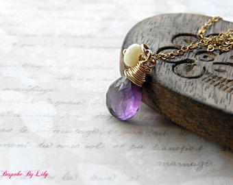 Amethyst Necklace, Gemstone Necklace, Gold Necklace, Opal Necklace, February Birthstone, Pendant Necklace, Gift for Her