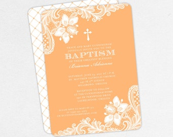 Baptism Invitation, Christening Invitation, Girl Baptism, Printable Baptism Invitation, PDF, Lace, Burlap, Rustic, Cross, Peach, Brianna