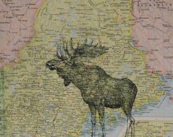 "Moose on Vintage Map of Maine Print - 8"" x 10"""