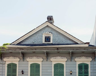 new orleans art, blue home decor, french creole cottage, architecture art, french quarter art, travel, louisiana art