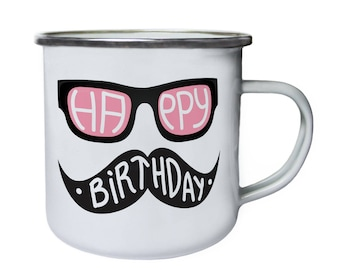 Happy Birthday Pink Black Spectacles Mustache Retro,Tin, Enamel 10oz Mug o37e
