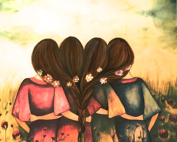 The four sisters best friends brisdemaid present  art print