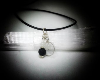 Aromatherapy Necklace, Lava Bead Necklace, Silver Necklace, Handmade Necklace, Moonstone Necklace, Essential Oil Necklace