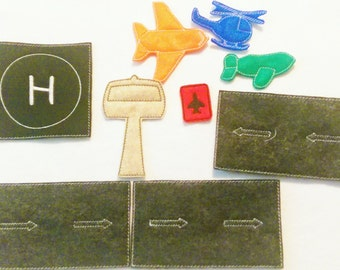 Airplane felt set  includes 9 pieces great for quiet books or busy bags #3922