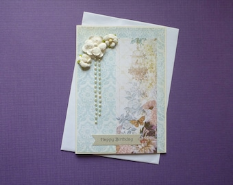 Delicate Birdcage Birthday  Card  FREE SHIPPING
