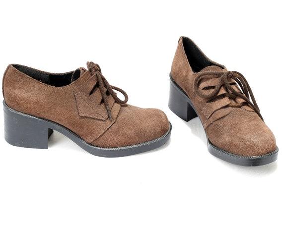 d5d404e8f578f Brown Suede Boho Heeled 5 6 Tomboy Eur US 4 Oxford Shoes UK Up ...
