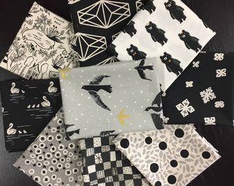 Cotton and Steel Fabrics -  Black and White Fabric Bundle - 9 Fat Quarters