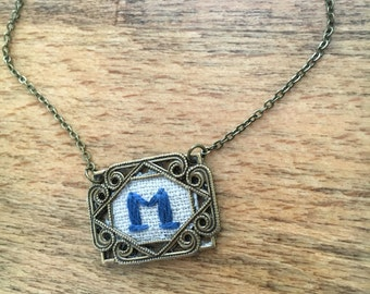 Hand embroidered initial necklaces, monogram, initials, bridesmaid gift